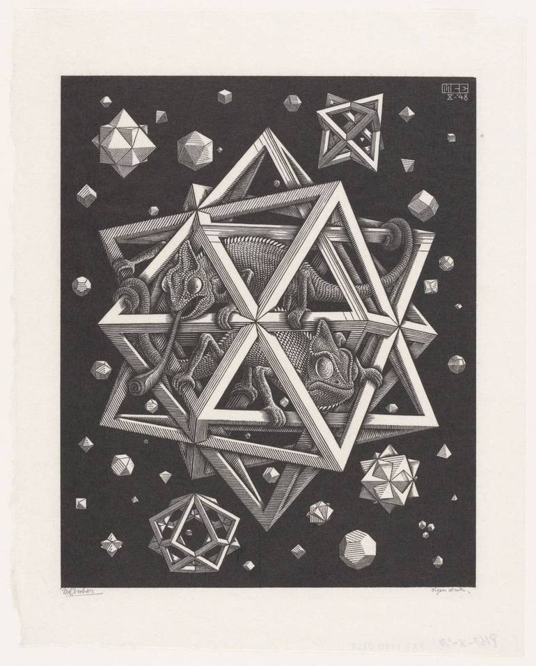 M.C. Escher  Stelle  1948  Xilografia   32 x 26 cm   Collezione Gemeentemuseum Den Haag   All M.C. Escher works © the M.C. Escher   Company B.V.-Baarn- the Netherlands