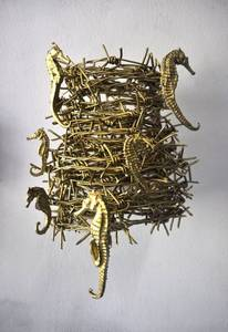 Filippo Sciascia _35. Untitled 8 Size 34 x 26 x 23 cm Iron Sea horse Gold Pain 2014 b_courtesy Galleria Poggiali e Forconi