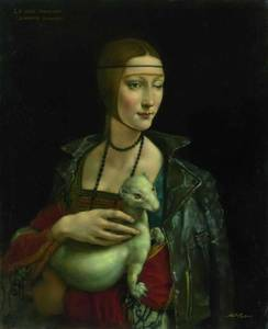 Lady with an Ermine, oil on canvas 80×65cm,2017 bassa