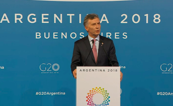Il presidente dell'Argentina Macrì in conferenza stampa (Foto Sir)